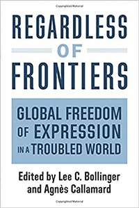 "Blue and white book cover with title ""Regardless of Frontiers: Global Freedom of Expression in a Troubled World."""