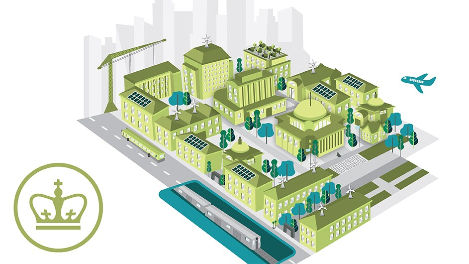 Green illustration of Columbia's Morningside campus.