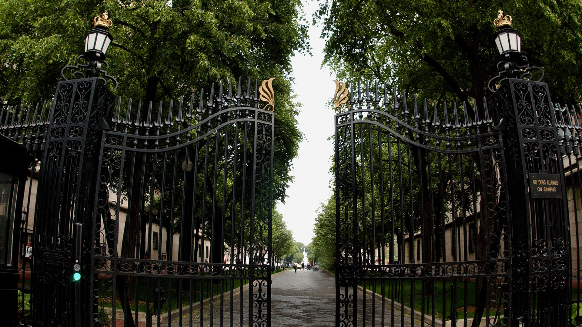 The Columbia gates at 116th street, in front of a tree-lined path