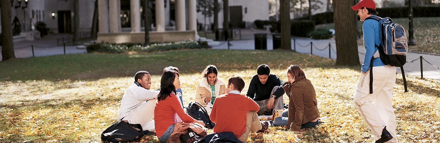 Photo of a group of students gathered in Van Am Quad.