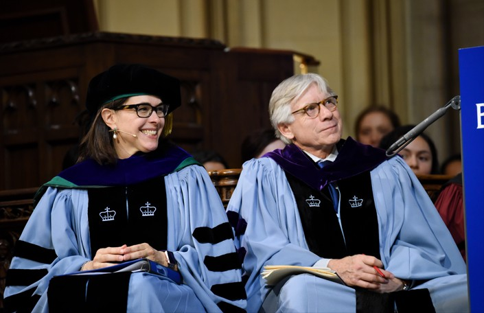 Photo of President Beilock and Columbia University President Lee Bollinger at the inauguration