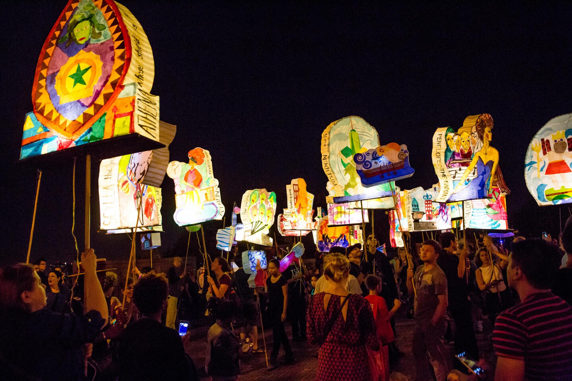Colorful lanterns illuminate the night sky during Morningside Lights, an annual art workshop and community parade.