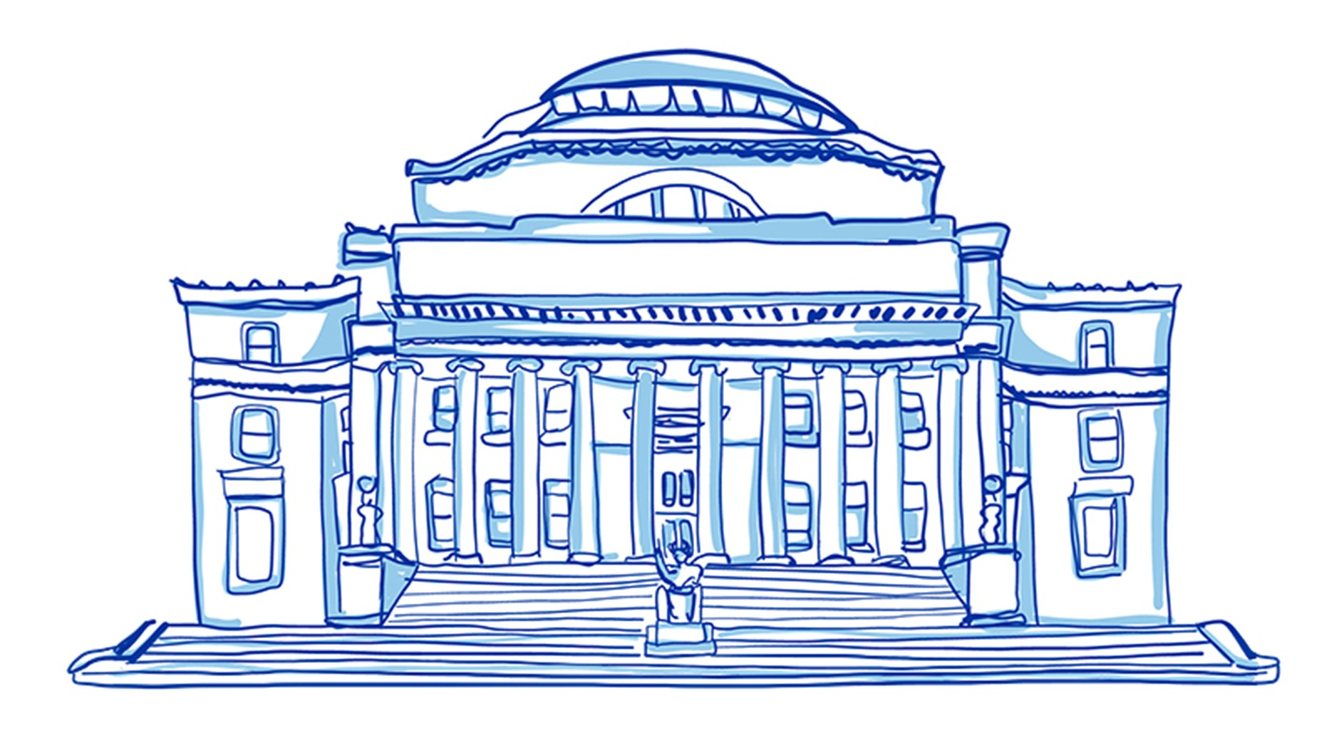 Blue and white illustration of Low Library, a classical building on Columbia's Morningside campus.