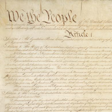 Photo of the first page of the United States Constitution.