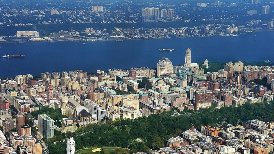 Aerial shot of Columbia's campus with Central Park to the east and the Hudson River to the west