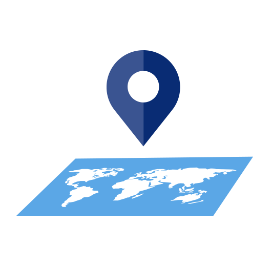 Icon of a gps symbol hovering over a map of the globe