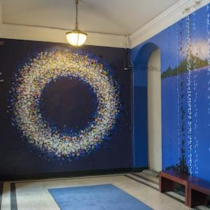 The entryway mural in Miller Theater on Columbia's Morningside Campus, blue patterns