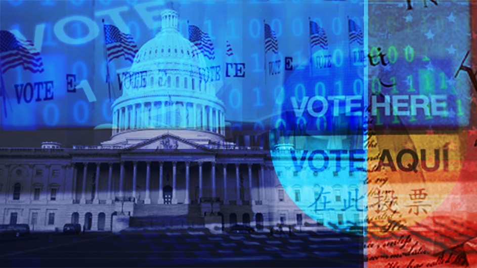 "The Capitol Building in Washington, overlaid with text that says ""vote here"" and ""vote aqui."""