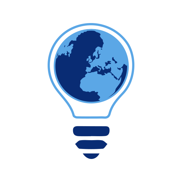 Icon of a light bulb with a globe in the center